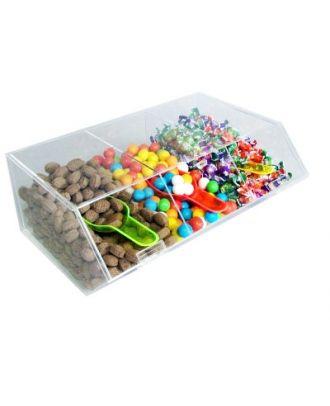 Présentoir alimentaire plexiglas 3 compartiments