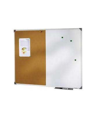 Tableau bivalent liège et laqué blanc 60 x 90 cm cadre alu